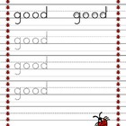 Dolch Kindergarten words trace worksheets Lady bug theme