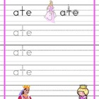 Dolch Kindergarten words trace worksheets Princess theme