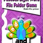 Dolch Pre-primer Peacock sight word file-folder game
