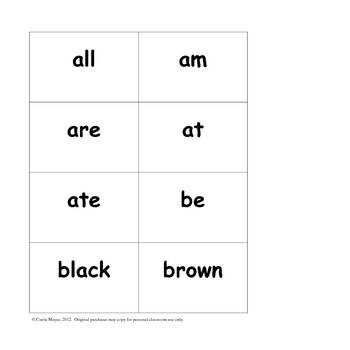 Dolch Primer Sight Word Formative Assessment and Flashcards