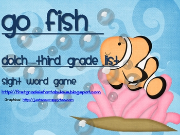 "Dolch Sight Words ""Go Fish"" 3rd Grade List"