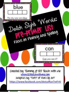 Dolch Sight Words PrePrimer Center Booklet