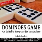 Dominoes Game Template - Customizable {FREEBIE}