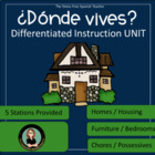 Donde Vives? 24 page packet! Spanish- Homes &amp; Housing Unit