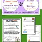 Dos &amp; Don&#039;ts of Open House  Parent to Teacher Info Sheet FREEBIE