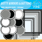 Dotty Borders & Badges - Black & White - Graphics From the Pond