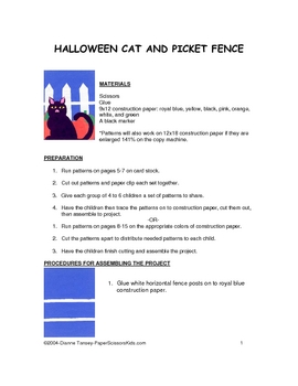 Downloadable Halloween Cat  Cut and Paste Art Project Patt