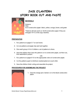 Downloadable Jack O'Lantern Storybook Cut and Paste Patter
