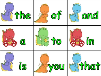 Dragon Literacy Center Game- 1st 50 Fry Sight Words Kinder