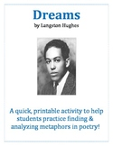 Dreams by Langston Hughes - Poetic Metaphor Activity