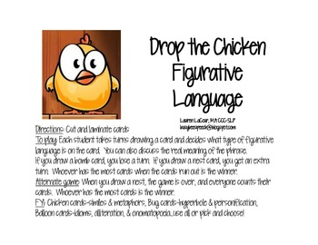 Drop the Chicken Figurative Language Game