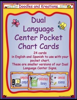Dual Language Pocket Chart Center Signs