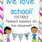 EDITABLE Bright colors Pennant banners