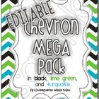 EDITABLE Chevron Mega Pack in Black/Turquoise/Lime Green