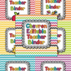 EDITABLE Teacher Binder in Rainbow Chevron
