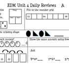 EDM first grade Unit 4 Review Sheets