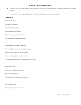 EL POEMA ME ENCANTA : Poetry using verbs like GUSTAR