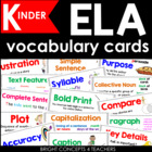 ELA Common Core Vocabulary Cards-Kindergarten