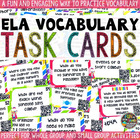ELA Vocabulary QR Task Cards: Common Core Test Prep {CANDY