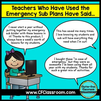 EMERGENCY SUBSTITUTE TEACHER PLANS