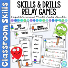 Monster 'Skills & Drills'  Dolch Sight Word and Addition Relays