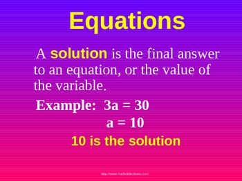 EQUATIONS INTRODUCTION a Powerpoint Presentation