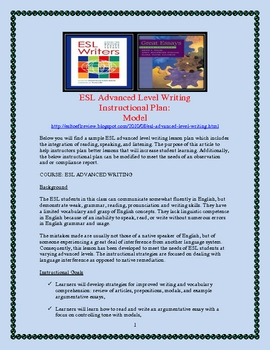 ESL Advanced Level Writing  Instructional Plan, Sample