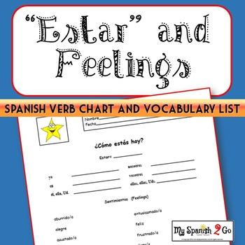 ESTAR AND FEELINGS:  Spanish Verb Chart and Vocabulary List