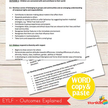 EYLF - Early Years Learning Framework Word Document (Copy