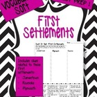 Early American Settlements Vocabulary Word Sort