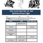 Early Battles Revolutionary War Worksheet, Map Activity Co