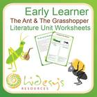 Early Learner &quot;The Ant and the Grasshopper&quot; Unit Worksheets.