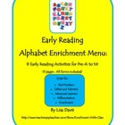 Early Reading Alphabet Enrichment Menu Packet with 8 Activ