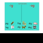 Early Word Study for -ig -og Word Families