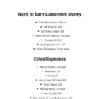 Earning/Spending Classroom Money