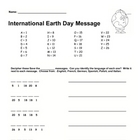 Earth Day Alphabet Code Worksheet