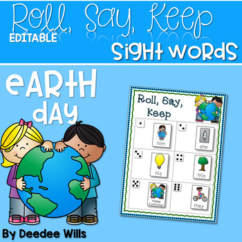 Earth Day Beginning Sight Words Roll, Say, Keep