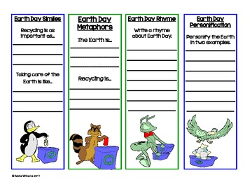 Earth Day Bookmarks - Practice with Figurative Language - FREE