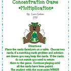 Earth Day Equations Concentration Game - Multiplication