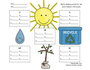 Earth Day Rhyming Word Families