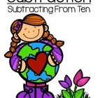 Earth Day Subtraction Center - Subtract From Ten Concept