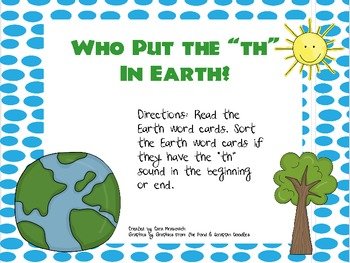 Earth Day: th Word Sort