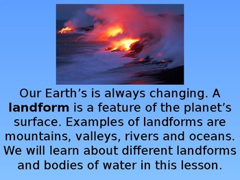 Earth Science-Landforms and Bodies of Water- PowerPoint fo