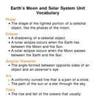 Earths Moon and Solar System Unit Vocabulary Lesson Plan