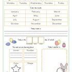 Easter Bunny Calendar/Circle Time Journal Sheet