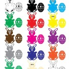 Easter Bunny Rabbits & Eggs Clip Art Collection (Easter, C