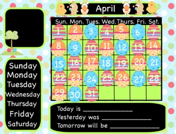 Easter Interactive Flipchart Calendar for Promethean Board