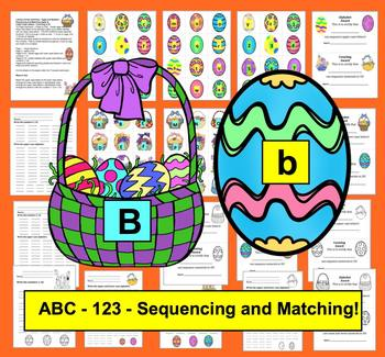 Easter Literacy Centers - Alphabet Match & Count to 20