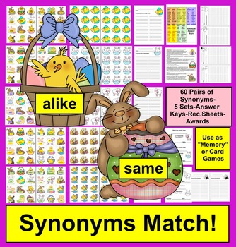 Easter Literacy Centers Synonyms - 5 Sets - 3 Ways to Play