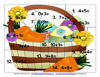 Easter Math Puzzle Freebie